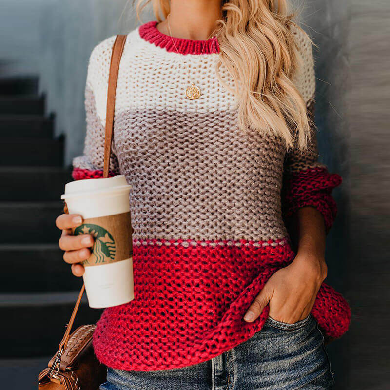 Crewneck Colorblock Mohair Pullover Sweater