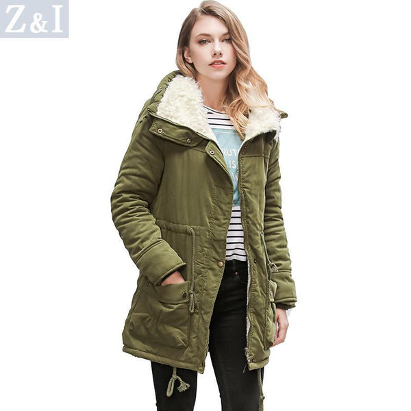 High Neck Solid Color Pockets Women Oversized Winter Warm Coat