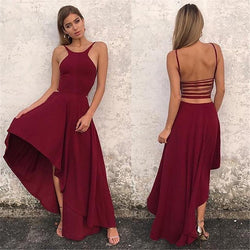Bear Shoulder Scoop Pure Color Irregular Backless Long Dress