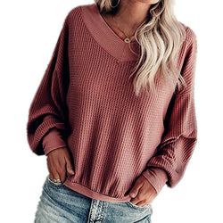 V-Neck Ribbed Pure Color Sweater