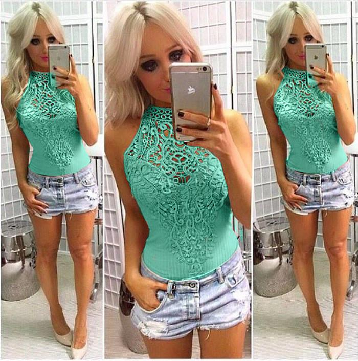 Lace Patchwork Scoop Sleeveless Short Lace Jumpsuit