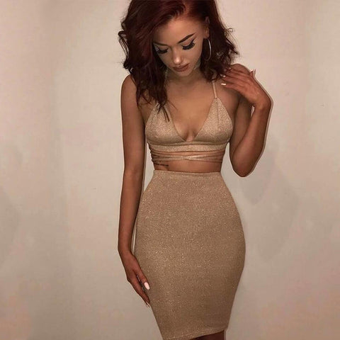 Spaghetti Straps V-neck Crop Top with Knee-length Skirt Two Pieces Set