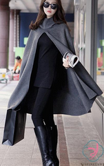 High Neck Long Sleeves Hooded Wool Cloak Coat - Oh Yours Fashion - 3