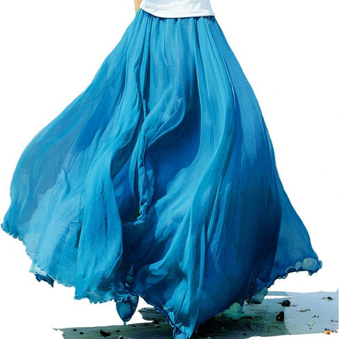 Pure Color Big Hemline High Waist Long Swing Beach Chiffon Skirt