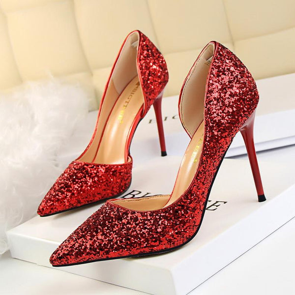 Shinning Low Cut Pointed Toe Stiletto High Heels Party Shoes