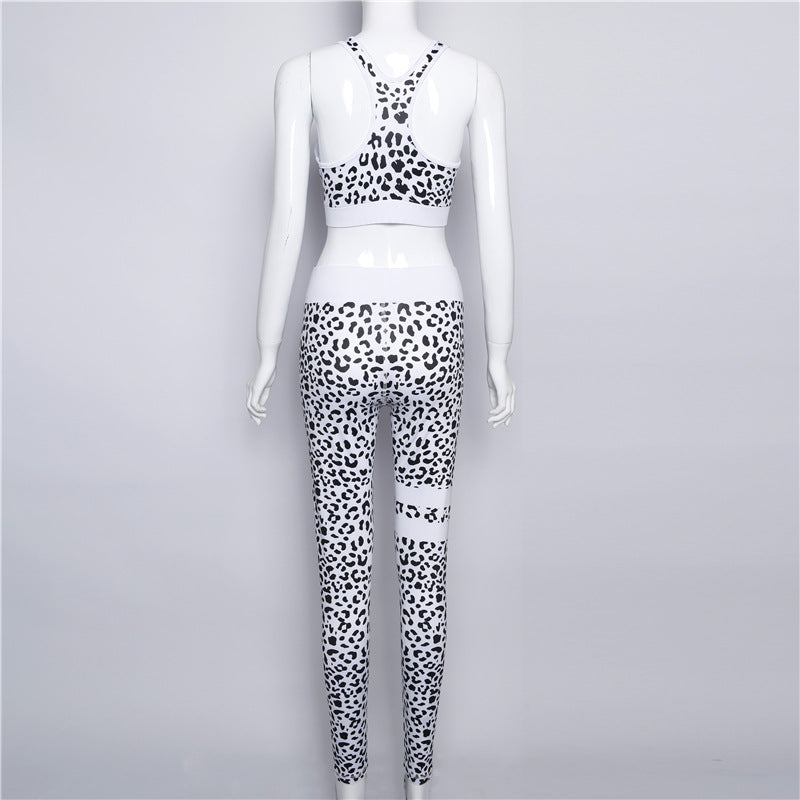 Leopard Crop Top with Middle Waist Women Two Pieces Yoga Sports Set