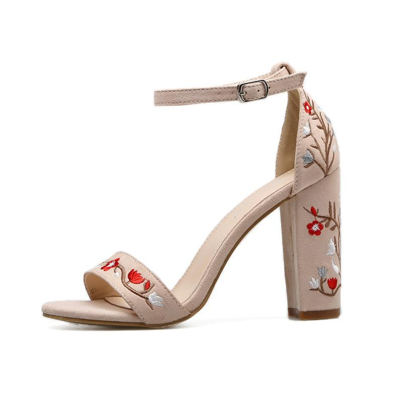f33940b1fe9 Roman Style Chunky Heel Embroidery Ankle Wrap Sandals – Oh Yours Fashion