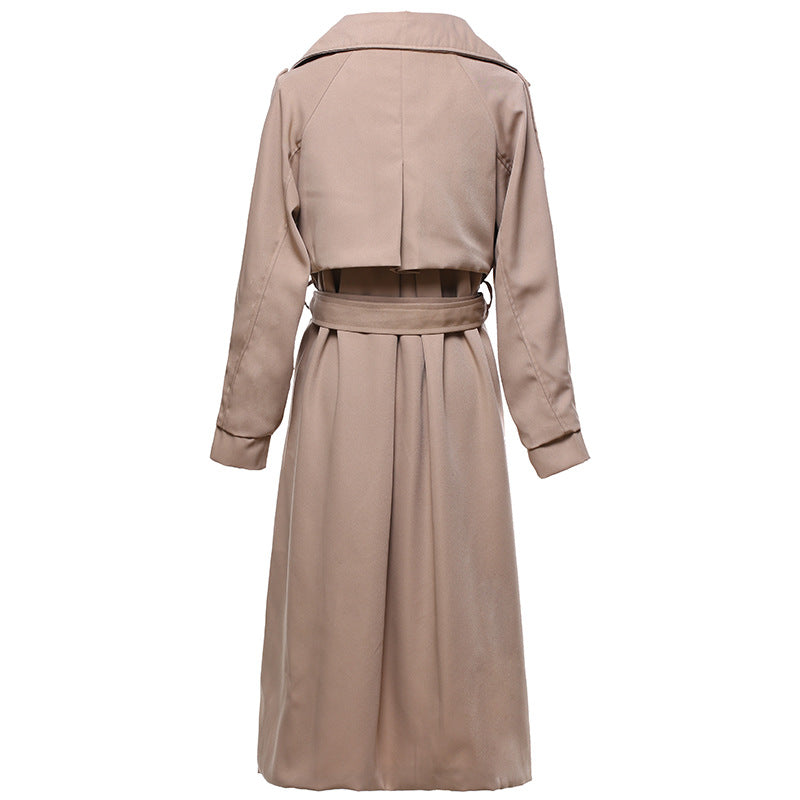 Lapel Solid Color Double Breast Women Oversized Long Trench Coat with Belt