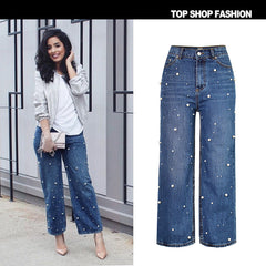 Beadings Middle Waist Loose Wide-Legs Long Jeans