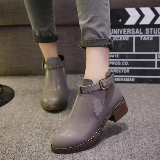Thicken Leisure Flat Pointed Belt Buckle Ankle Boots