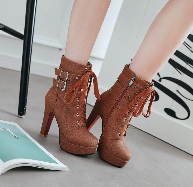 Motorcycle Lace UP Hasp Platform Stiletto High Heels Short Boots