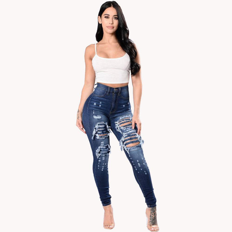 Cut Out Ruffles Holes Packets High Waist Slim Long Denim Jeans Pants