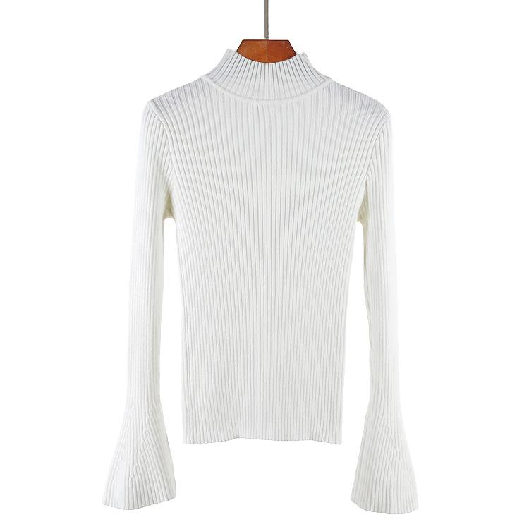 Turtlneck Solid Color Women Long Bell Sleeves Slim Sweater