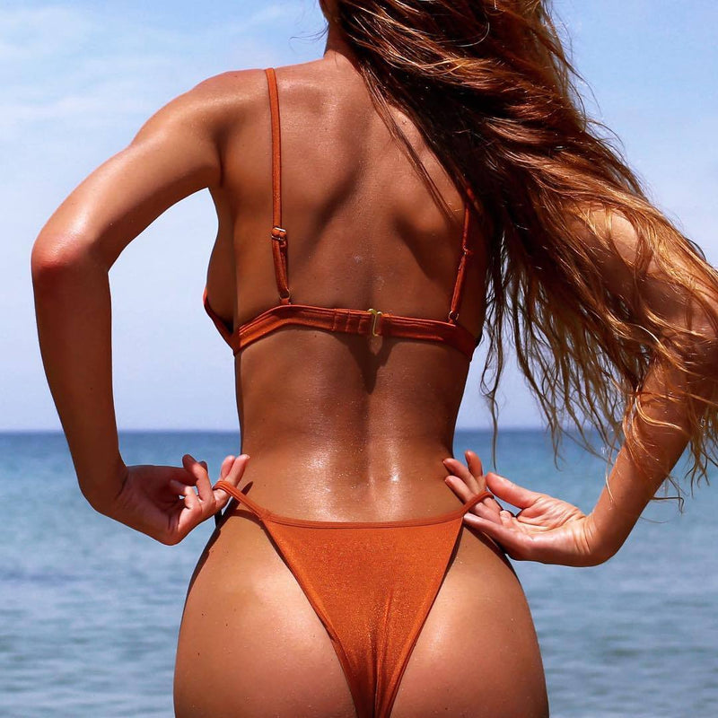 Simple Style Spaghetti Straps Low Waist Bath-suit Two Pieces Swimwear