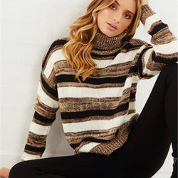 Turtleneck Striped Knit Pullover Sweater