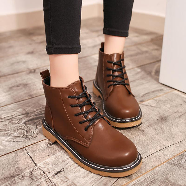 Pure Color PU Chunky Heel Round Toe Lace-Up Short Martin Boots
