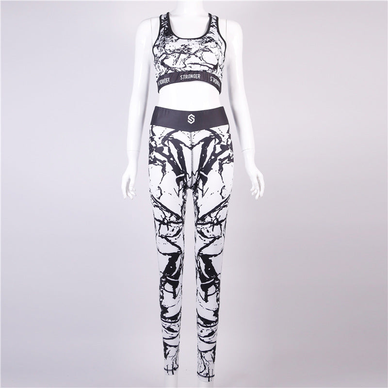 3D Print Letter Crop Top with High Waist Leggings Women Summer Sports Two Pieces Set