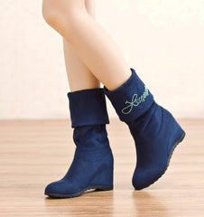 Letter Print Inside Wedge Round Toe Half Snow Martin Boots