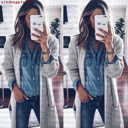 2018 Women's Loose Double Pockets Knitted Cardigan Sweater