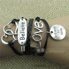 LOVE Heart Believe Handmade Multilayer Woven Bracelet - Oh Yours Fashion - 1