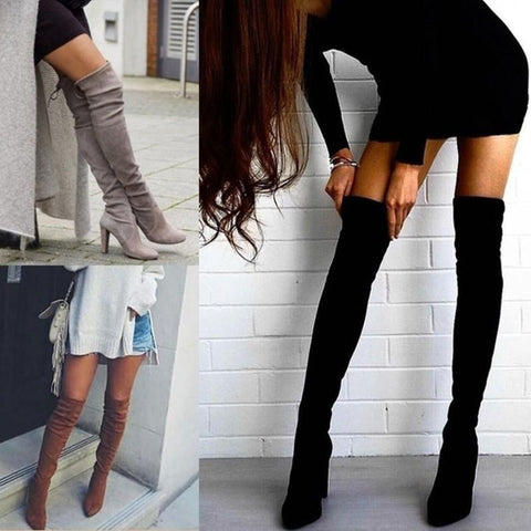 c2e8a7372 Pointed Toe Suede Solid High Chunky Heels Over-knee Long Boots