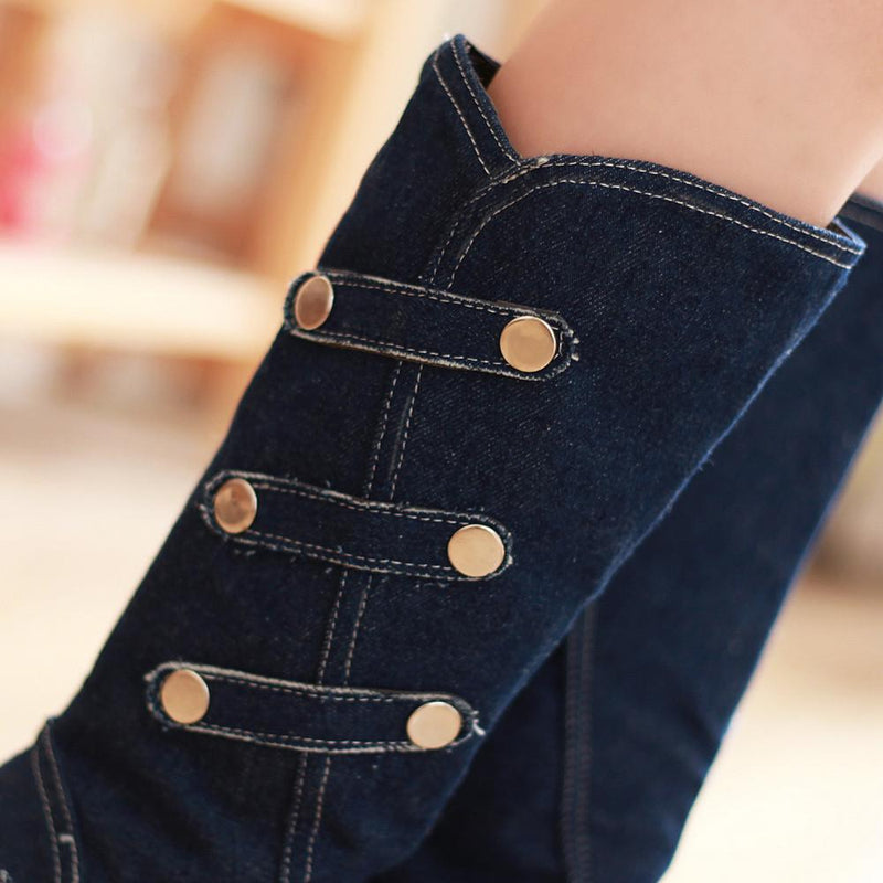Personality Denim Buckle Belt Button Knights Boots