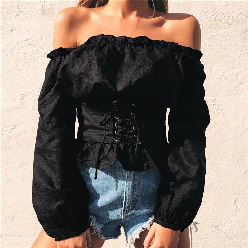Lace-up Off Shoulder Slim Pure Color Long Lantern Sleeves Crop Top