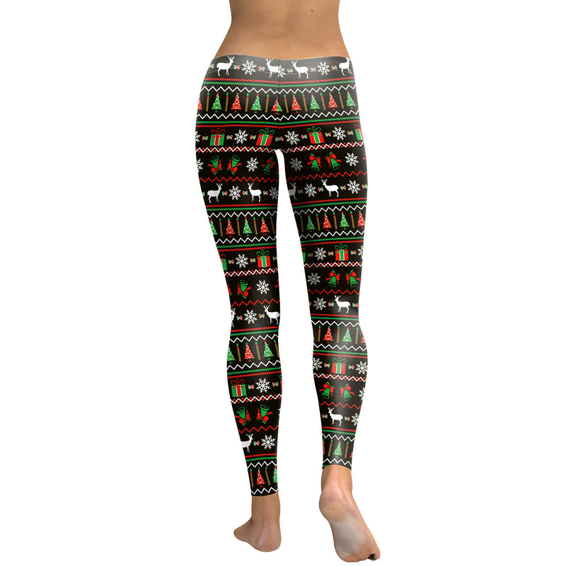 Reindeer Snow Print Elastic Waist Women Christmas Party Leggings Pants