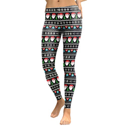 Santa Claus Snow Print Mid Waist Women Christmas Party Pants Leggings