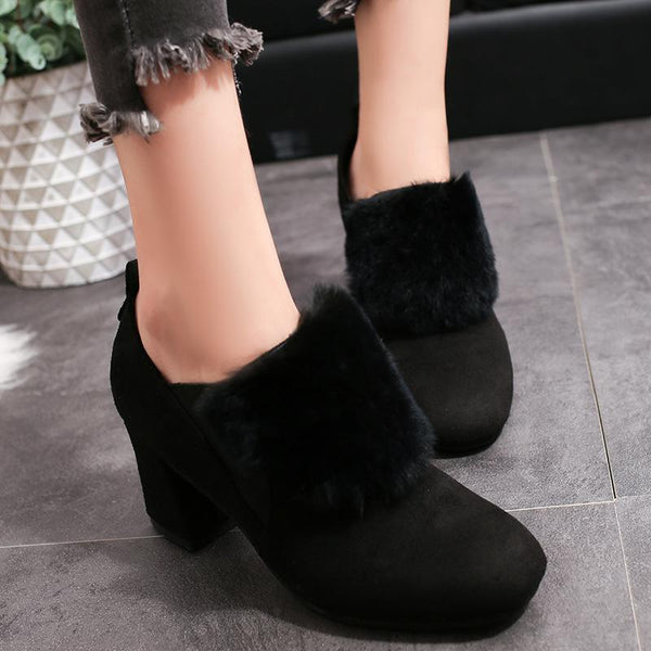 Fur Suede Square Toe Middle Block Heel Short Martin Boots