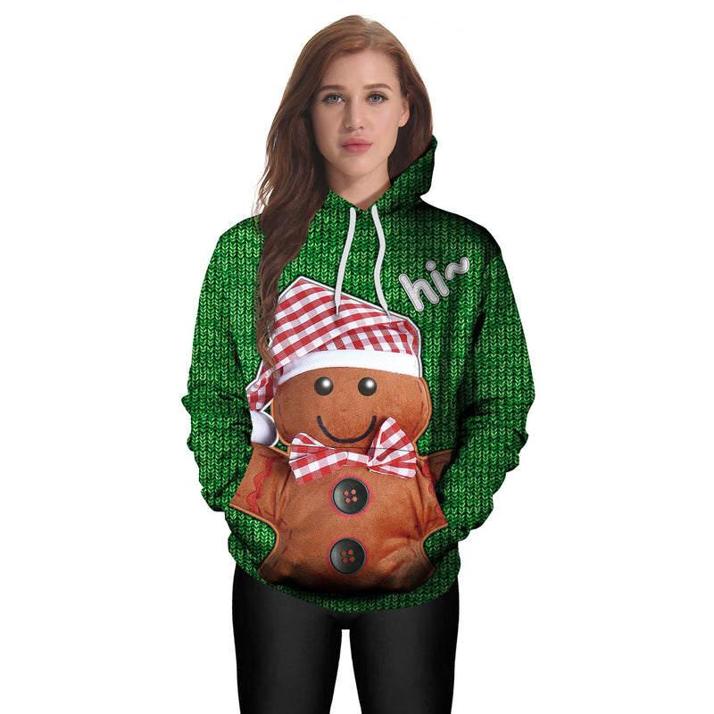 Bear with Hat Digital Print Women Christmas Cartoon Party Hoodie