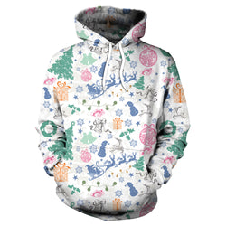 Colorful Digital Print Women Christmas Hooded Party Hoodie