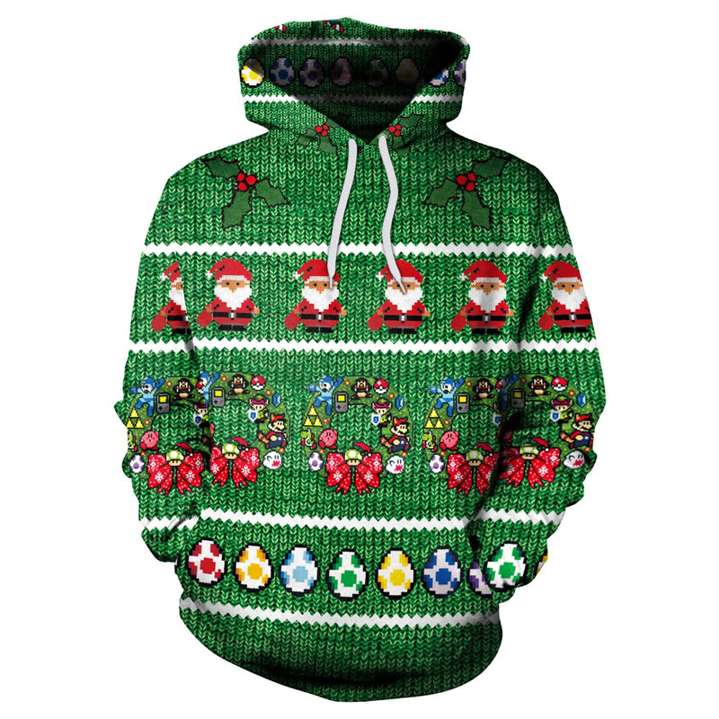 Color Santa Claus Gifts Print Women Drawstring Christmas Party Hoodie
