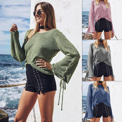 Pure Color Scoop Long Trumpet Sleeves Lace Up Loose Sweater