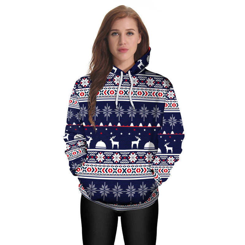 Snow Reindeer Digital Print Women Drawstring Christmas Party Hoodie