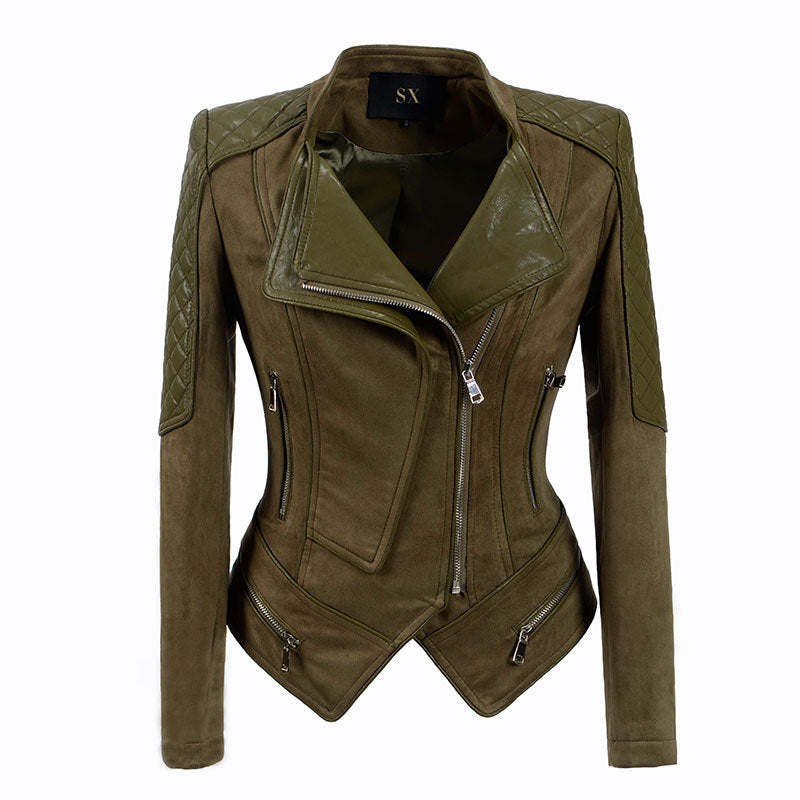 Slim Lapel Zipper Irregular Women Motocycle Jacket