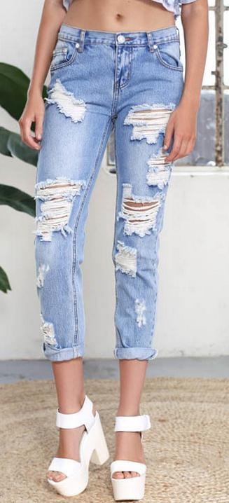 Holes Ripped Straight Slim Beggar Plus Size Jeans - Meet Yours Fashion - 2