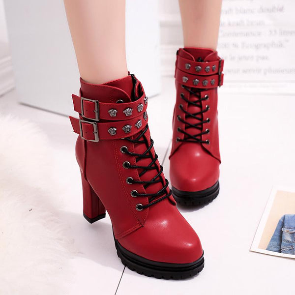 Rivets Hasp Straps Platform Lace Up High Chunky Heel Ankle Martin Boots
