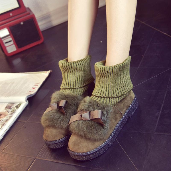 Rabbit Fur Bowknot Edge Round Toe Flat Ankle Boots