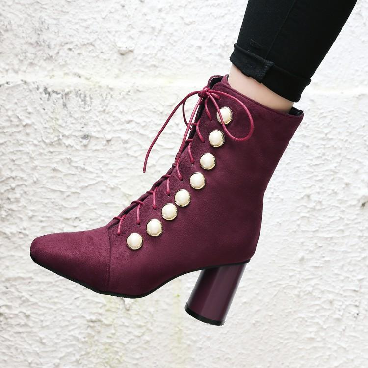 Suede Beads Round Toe Lace Up Middle Chunky Heels Short Boots
