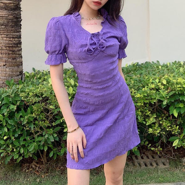 Sexy Purple Bodycon Short Dress