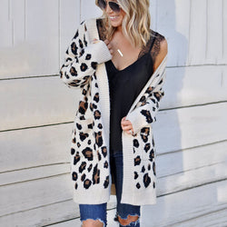 Leopard Pockets Knit Oversized Cardigan Sweater