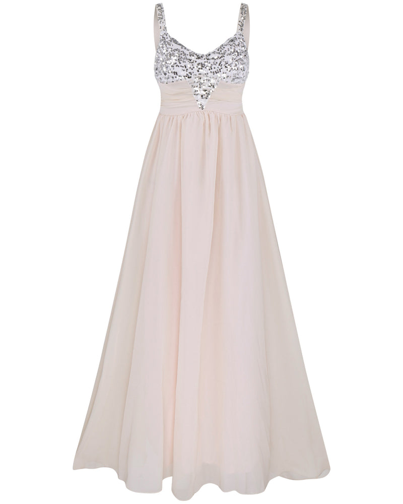Pleated Straps Sequined Ruched Long Prom Dress