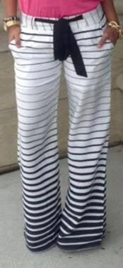 Drawstring Striped Wide Legs Casual Sport Pants - Oh Yours Fashion - 2
