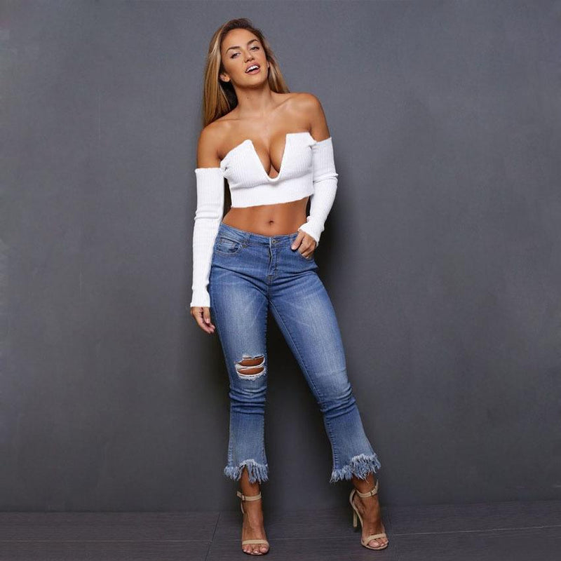 Off Shoulder Long Sleeves Women Crop Top