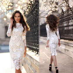 Gorgeous White Lace Bodycon Dress - Oh Yours Fashion - 1