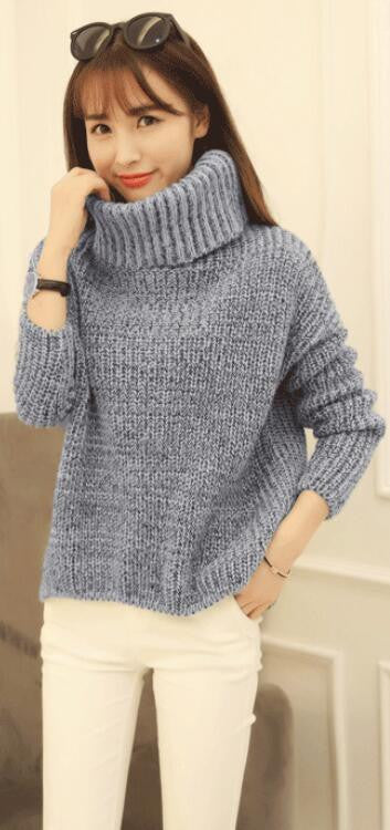 High Neck Knitting Irregular Hem Sweater - Oh Yours Fashion - 3