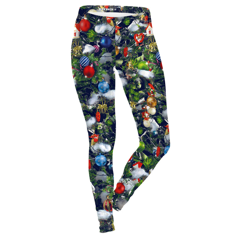 Colorful Digital Print Medium Waist Women Christmas Party Leggings Pants