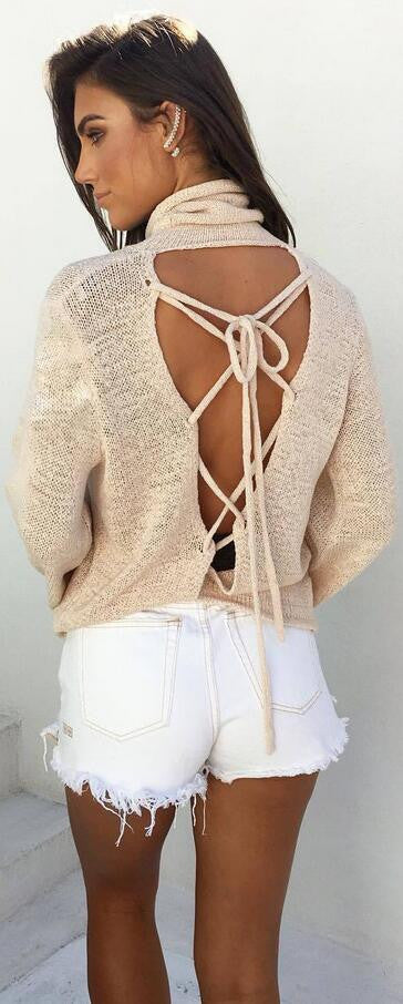 Sexy Back Lace Up Batwing High Neck Sweater - Oh Yours Fashion - 3
