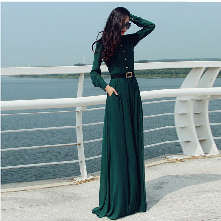 Long Sleeves Chiffon Button Decorate Pleat Long Maxi Dress - O Yours Fashion - 4